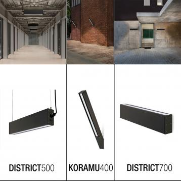 NOVELTIES OUTDOOR: WALL-MOUNTED LINEAR FIXTURES AND TWO-SIDED EMISSION LUMINAIRES